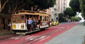 Cable Car Transportation on a hill in San Francisco