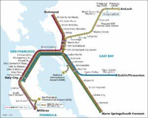 San Francisco public transport bart map